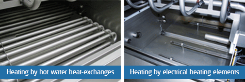 unifortes heating by hot water heat-exchanges heating by electrical heating elements
